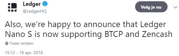 Ledger Nano S ondersteunt vanaf nu Bitcoin private en Zencash