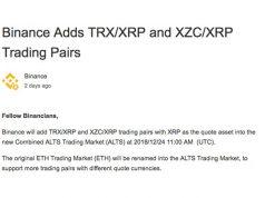 Binance list XRP-token als 'base pair'