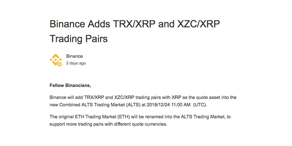 Binance list XRP-token als 'base pair'