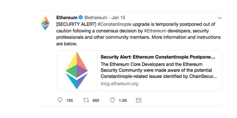 Ethereum heeft hard fork Constantinople tijdelijk uitgesteld
