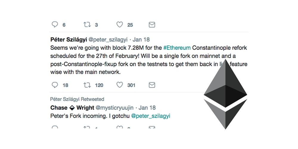 Ethereum hard fork uitgesteld naar 27 februari 2019