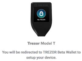 Trezor T hardware wallet setup online