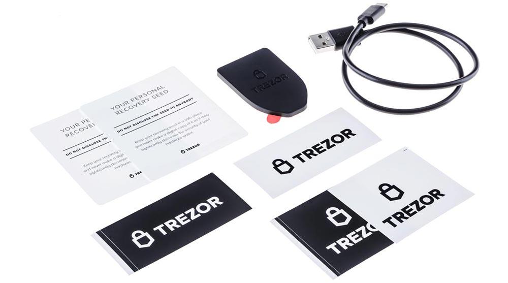 Verpakking en doos hardware wallet Trezor T