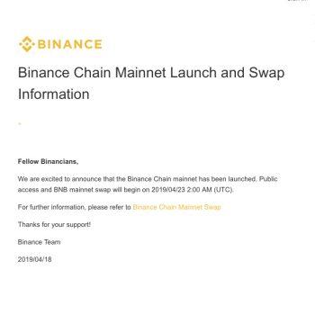 Binance chain lancering op 23 april