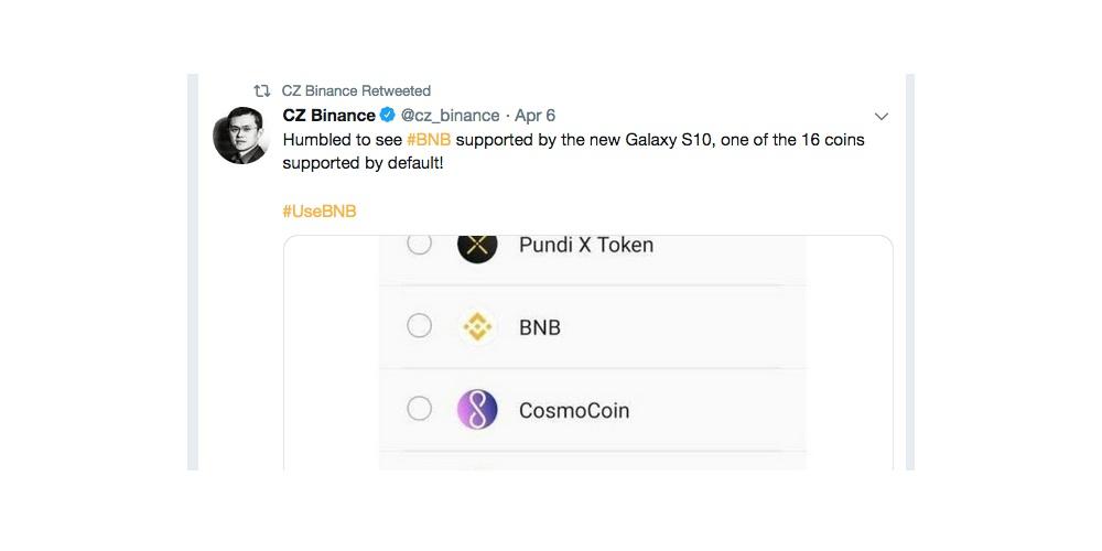 Wordt Binance Coin ondersteund door Samsung Galaxy S10