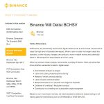 Binance delist Bitcoin SV