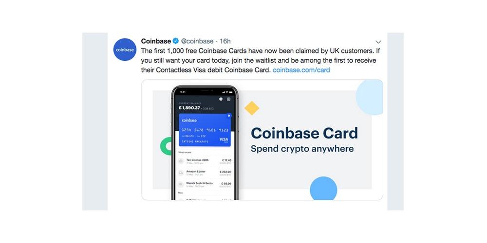 Coinbase lanceert eigen Visa debetkaart