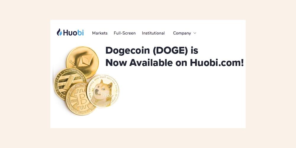 Dogecoin (DOGE) toegevoegd aan Huobi exchange