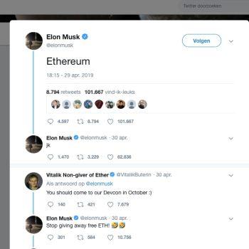 Elon Musk noemt Ethereum in tweet: prijs omhoog