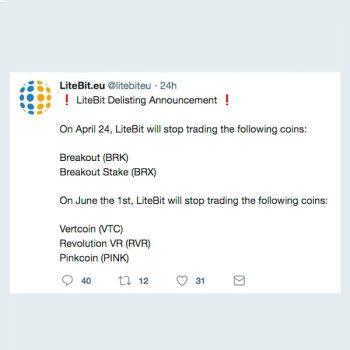 LiteBit delist opnieuw crypto: BKR - BRX - RVR - VTC - PINK