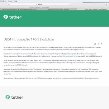Tether's USDT gelanceerd op TRON blockchain