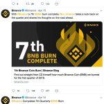 Zevende verbranding van bnb-tokens een feit