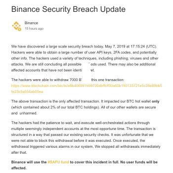 Binance gehackt, voor 41 miljoen dollar aan crypto gestolen