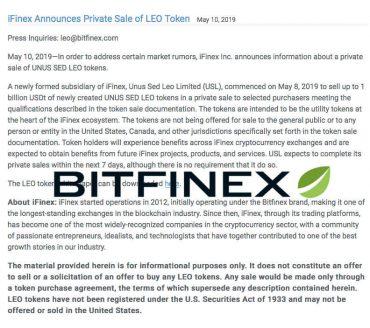 Heeft Bitfinex nu al de beoogde 1 miljard dollar voor haar LEO-token binnen?