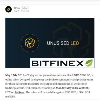 Bitfinex lanceert handel in LEO-token